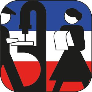 Das Symbol zeigt einen Arbeiter und eine Arbeiterin.